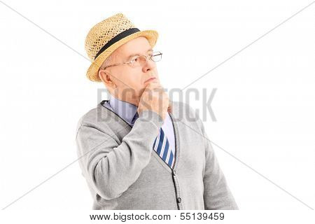 Doubtful senior man in thoughts isolated on white background