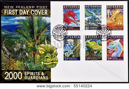 Stamps printed in New Zealand dedicated to spirits and guardians maori legends