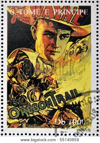 SAO TOME AND PRINCIPE - CIRCA 1995: A stamp printed in Sao Tome shows movie poster The Oregon Trail