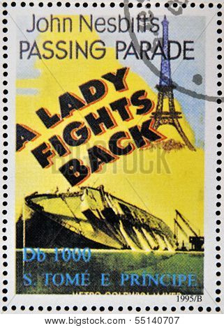 SAO TOME AND PRINCIPE - CIRCA 1995: A stamp printed in Sao Tome shows movie poster A Lady Fights Bac
