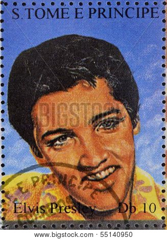 stamp printed in Sao Tome and Principe shows image portrait of famous American singer Elvis Presley