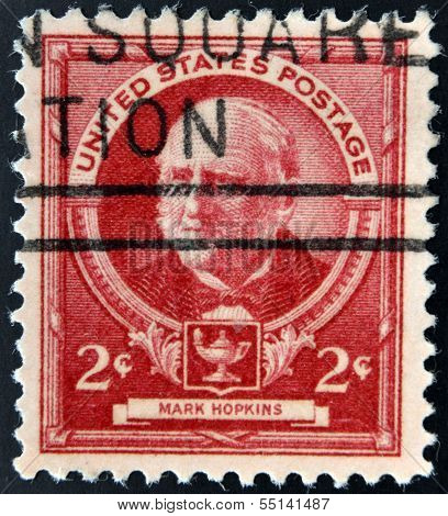 stamp printed in USA shows Mark Hopkins - American educator and theologian