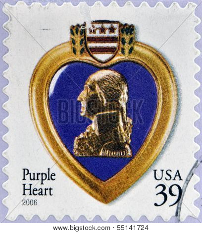 stamp dedicated to The Purple Heart is a United States military decoration