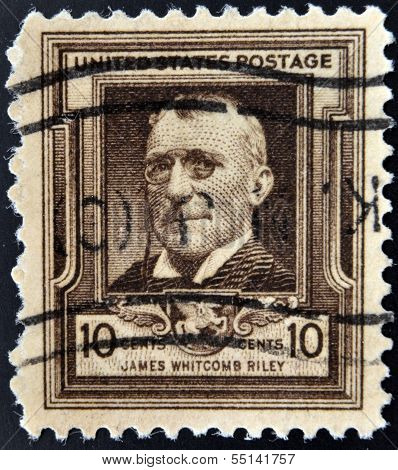 UNITED STATES OF AMERICA - CIRCA 1940: A stamp printed in USA shows James Whitcomb Riley circa 1940