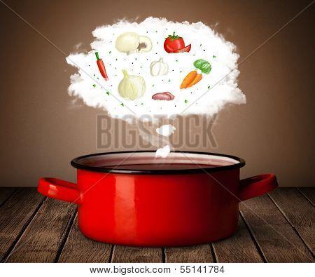Vegetables in vapor steam above cooking pot