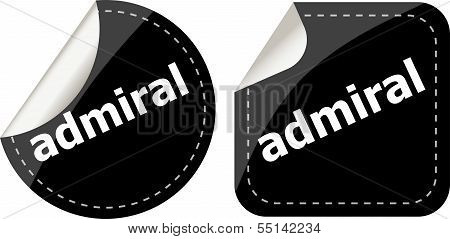 Admiral Word Stickers Set, Icon Button, Business Concept