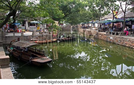 Landscape Of Tongli Watertown With Traditional Boats And Old Houses, Jiangsu Province, China