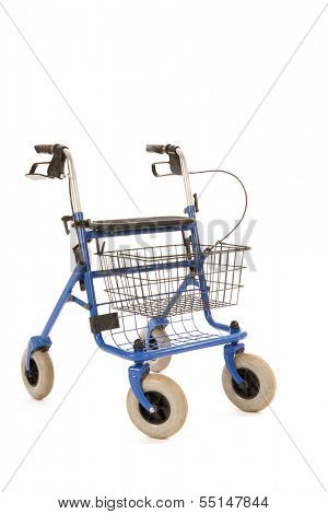 Blue walker with handbrakes and basket isolated over white background