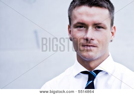 Handsome Blond Man In Corporate Attire