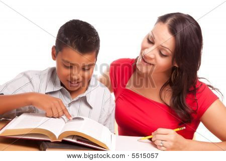 Attractive Hispanic Mother And Son Studying