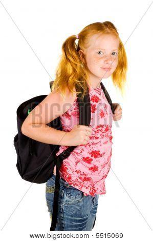 Happy Schoolgirl Ready To Go To School