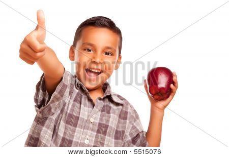 Adorable schatten schattenwurf junge mit Apfel und Daumen hoch Handzeichen