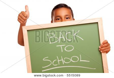 Cute Hispanic Boy Holding Chalkboard With Back To School