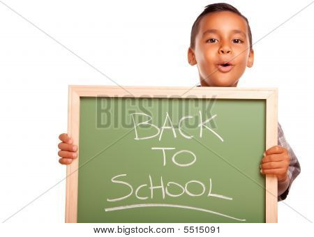 Cute Hispanic Boy Holding Chalkboard With Back To School