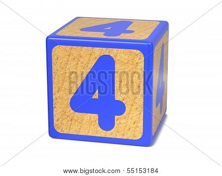 Number 4 - Childrens Alphabet Block.