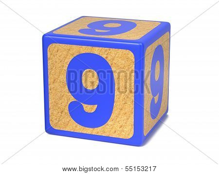 Number 9 - Childrens Alphabet Block.
