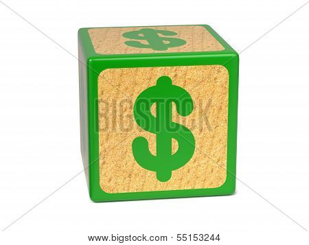 Dollar Sign - Childrens Alphabet Block.