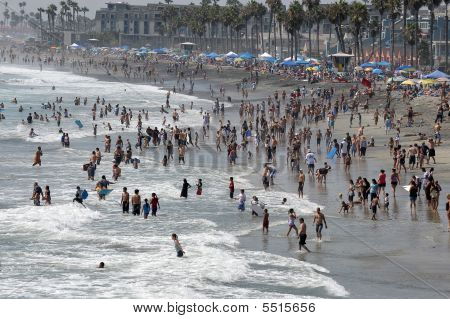 Beach Crowds In Oceanside, California