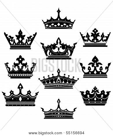 Black Crowns Set For Heraldry Design