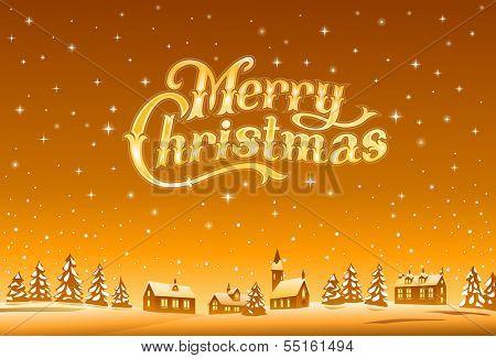 Merry Christmas golden lettering, vector illustration