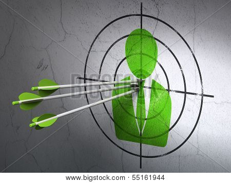 Business concept: arrows in Business Man target on wall background