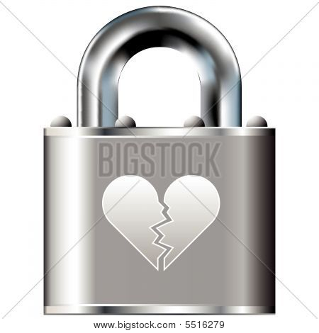 Broken Heart Icon On Vector Lock