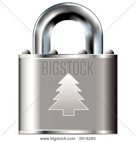 Christmas Tree Icon On Vector Lock