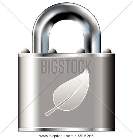 Leaf Icon On Vector Lock