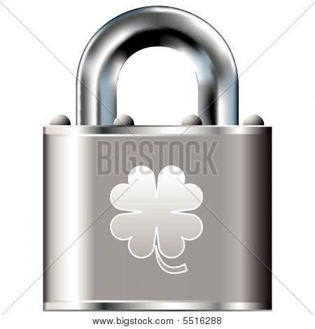 Four Leaf Clover Icon On Vector Lock