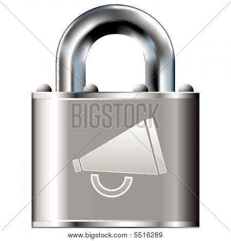 Megaphone Icon On Vector Lock
