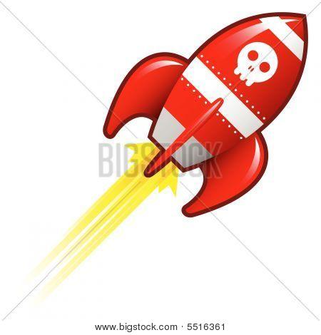 Skull Icon On Retro Rocket