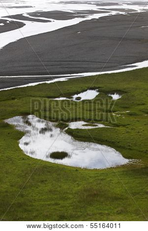 Iceland. Southeast Area. Water And Sand From Glaciers.