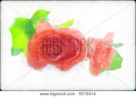 Roses In A Retro Style On A Light Background