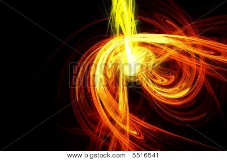 Trendy Abstract Design With Yellow And Orange Light Waves