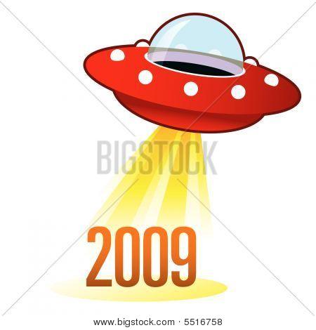 2009 Year Icon On Retro Ufo