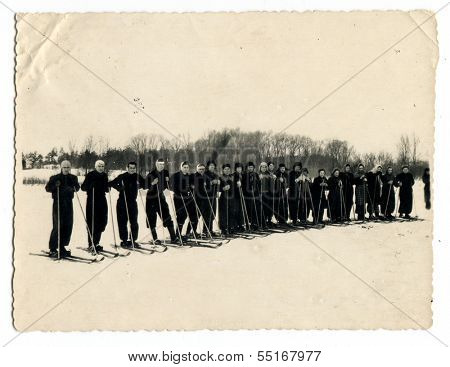 BELGOROD - CIRCA 1957: Start of ski races, Belgorod, Russia, USSR, 1957