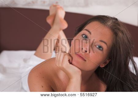 Beautifull Young Woman In Her Bed