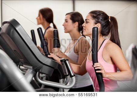 Working out in elliptical trainer