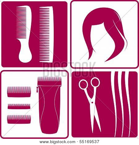 set icons for hair salon