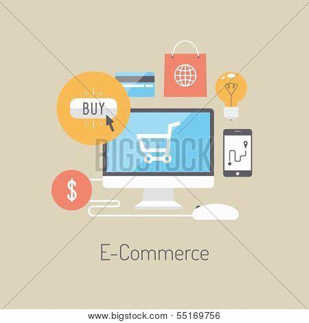 Concepto de ilustración plana E-commerce
