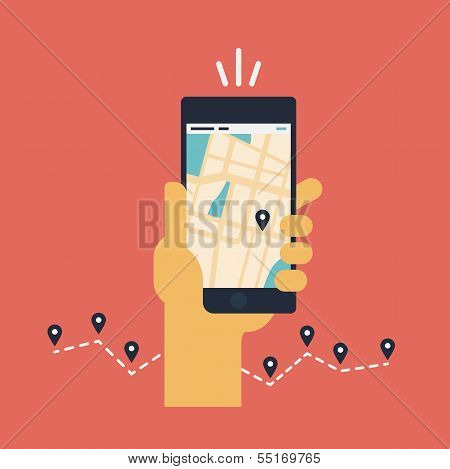Mobile Gps Navigation Flat Illustration