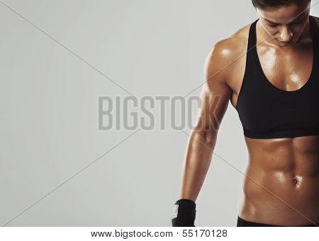 Female Resting With Intense Workout