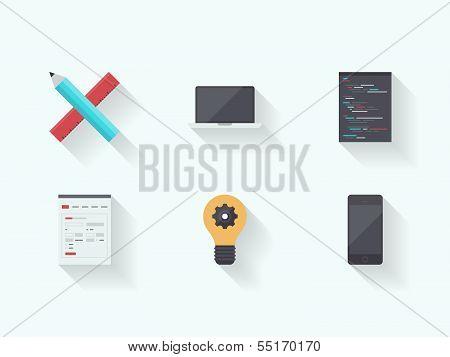 Web Technology Process Flat Icons