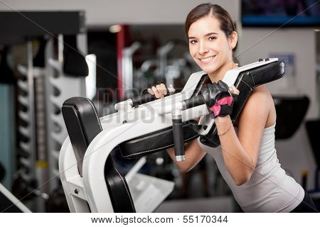 Cute young woman working out