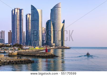 BUSAN, SOUTH KOREA - FEBRUARY 10: Haeundae District and waterfront February 10, 2013 in Busan, South Korea. The high rise district is home to many of the city's most affluent residents.