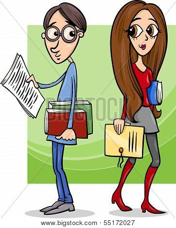 Students Couple In Love Cartoon