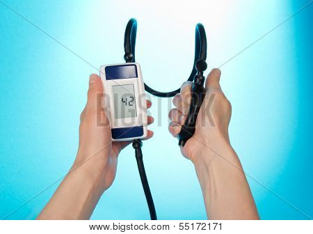 The process of measuring blood pressure