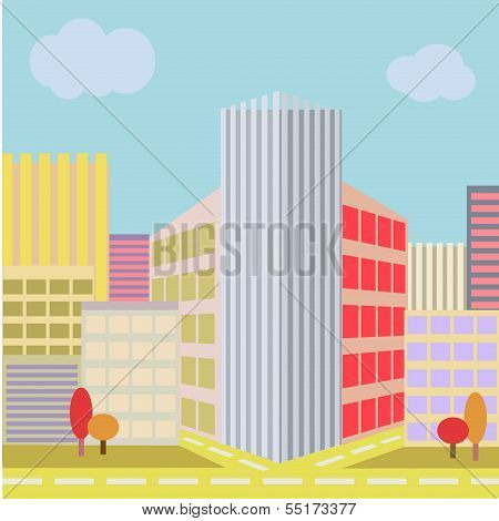 Big City Street with modern building architecture urban life concept trendy style