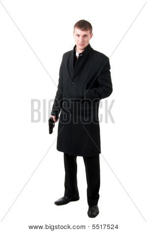 Cool Men In Formal Wear With Gun
