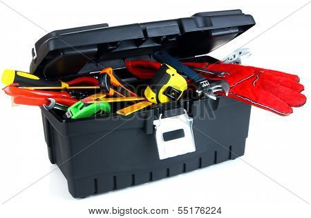 Black toolbox with tools isolated on white